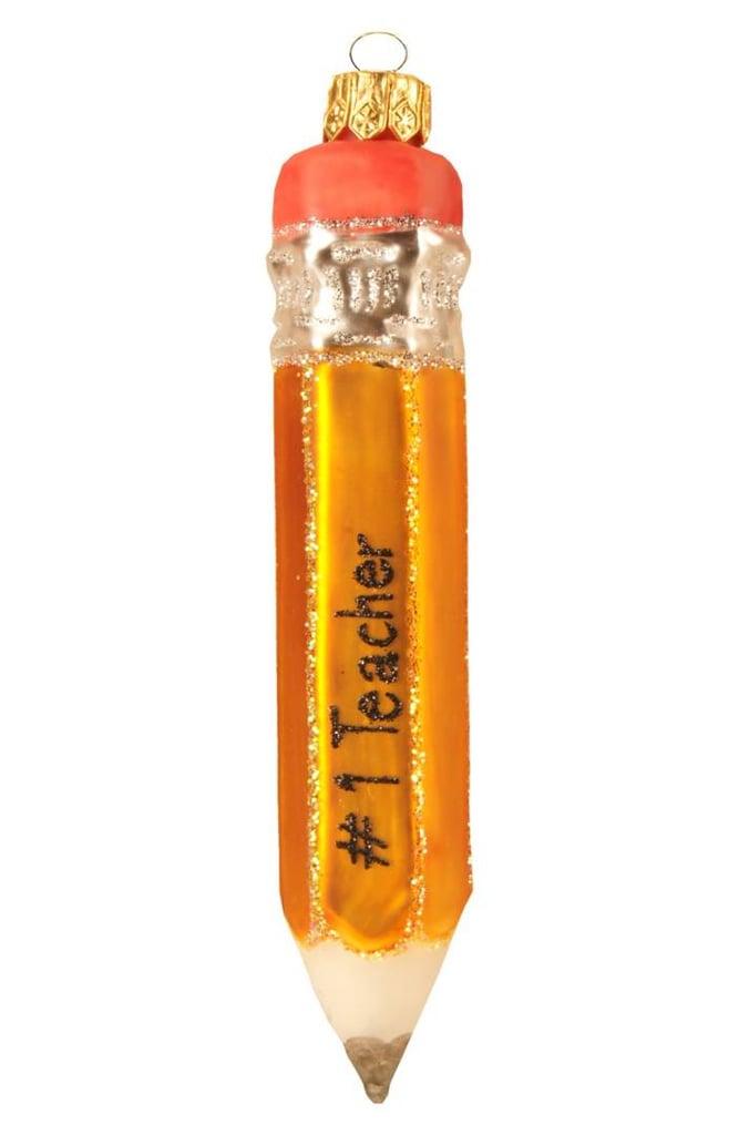 Nordstrom Best Teacher Pencil Glass Ornament