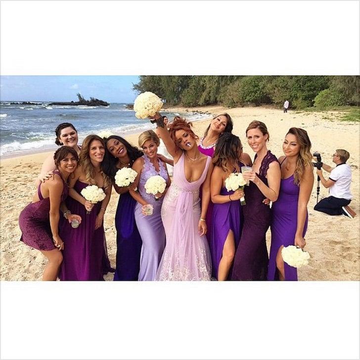 Rihanna's Purple Badgley Mischka Bridesmaid Dress