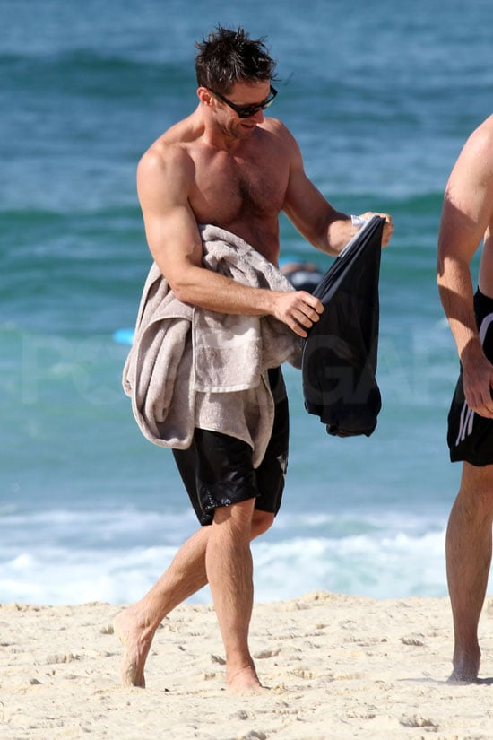 Hugh Jackman warmed up with a shirt after a swim at Bondi Beach.