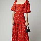 Rhode Harper Smocked Printed Cotton Dress