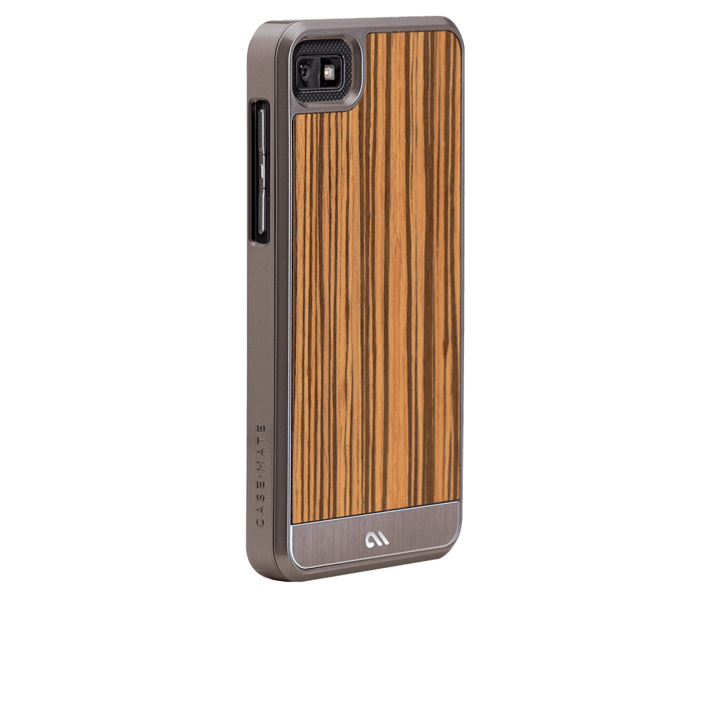 Case-Mate's Zebrawood BlackBerry 10 Case ($80) combines natural wood materials with brushed aluminum.