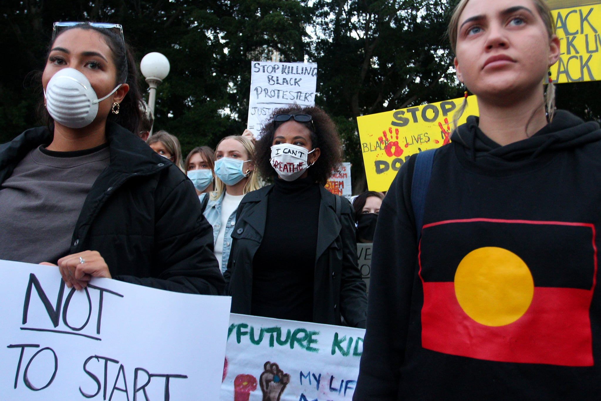 SYDNEY, AUSTRALIA - JUNE 02: Protesters demonstrate in Hyde Park during a 'Black Lives Matter' rally on June 02, 2020 in Sydney, Australia. The event was organised to rally against aboriginal deaths in custody in Australia as well as in solidarity with protests across the United States following the killing of an unarmed black man George Floyd at the hands of a police officer in Minneapolis, Minnesota. (Photo by Lisa Maree Williams/Getty Images)