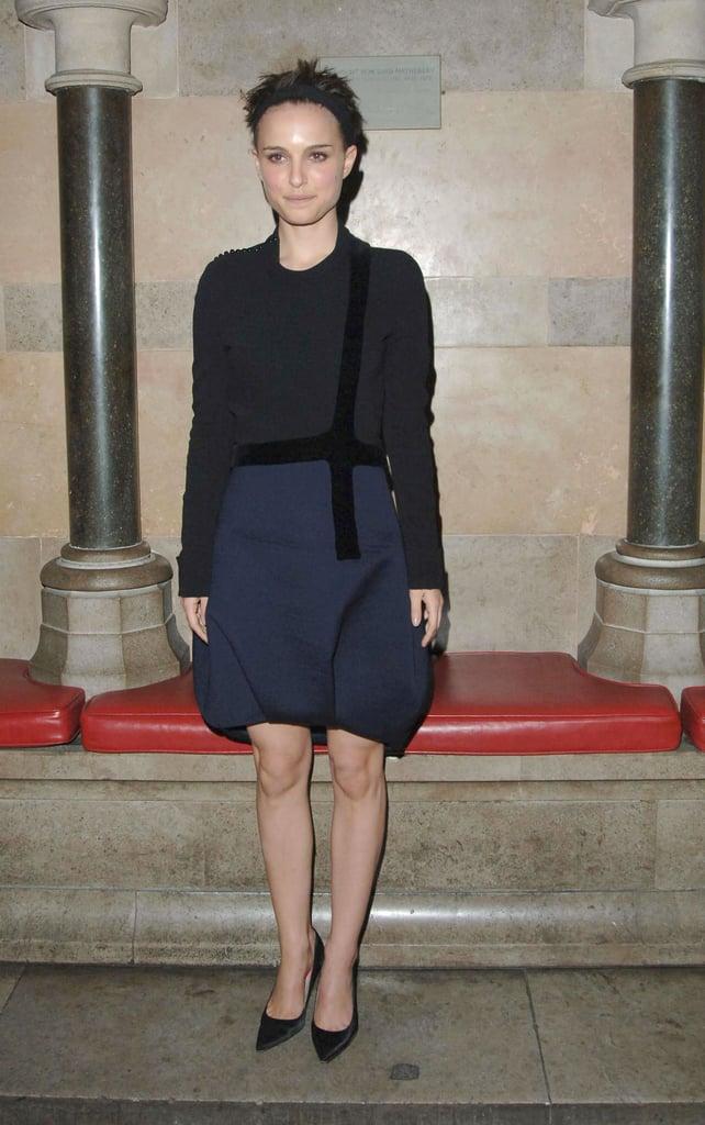 Natalie Portman in a Navy Skirt at the 2006 V For Vendetta London Premiere