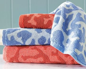 Williams-Sonoma Home Coral Jacquard Towels