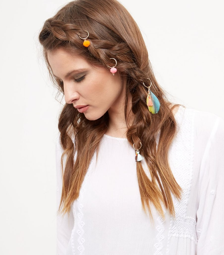 New Look Multicoloured Beaded Feather Hair Rings