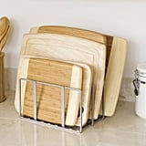 Seville Kitchen Cabinet and Counter Top Cutting Board Organizer in Silver