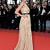Lara Stone showed off a chiffon gown on the Julieta red carpet.