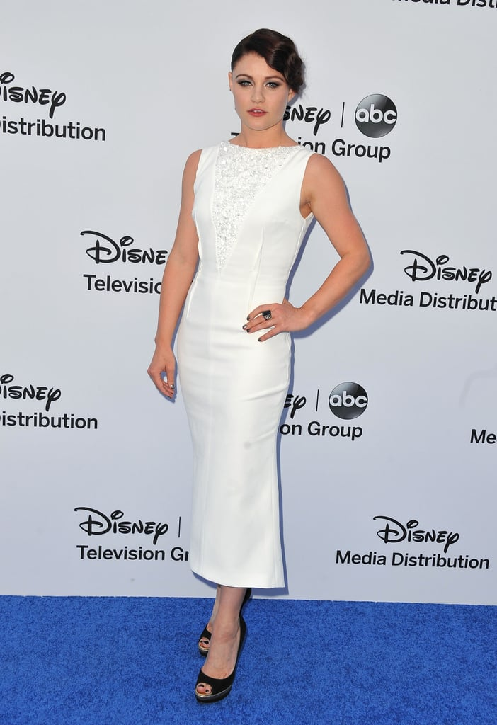 Emilie de Ravin worked a midi-length white Paule Ka dress with black peep-toe pumps at the Disney upfronts in Burbank, CA.