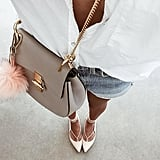 A White Button-Down, Denim Cutoffs, Lace-Up Flats, and a Saddle Bag