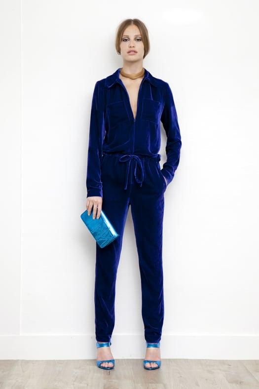 Velvet Jumpsuit in Electric Blue, Fatale Metallic Watersnake High Heel Sandal in Turquoise, TM Enjoy Watersnake Clutch in Turquoise. Photo courtesy of Tamara Mellon