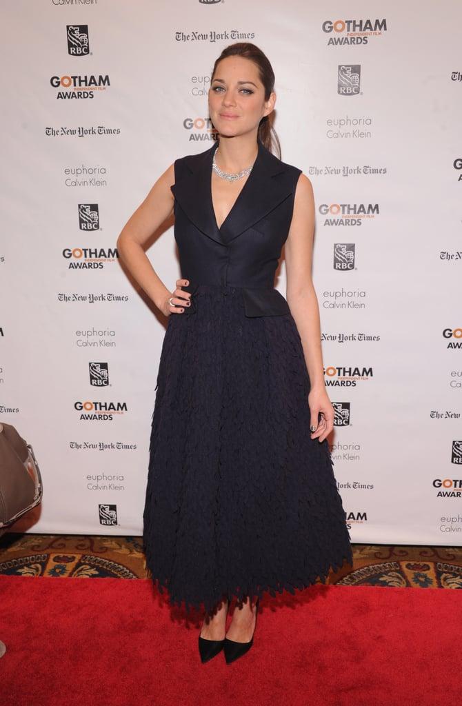 Marion Cotillard in Navy Dior Haute Couture Dress