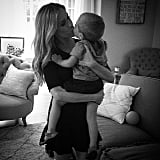 """Kisses from my little man before date night with the big one."""