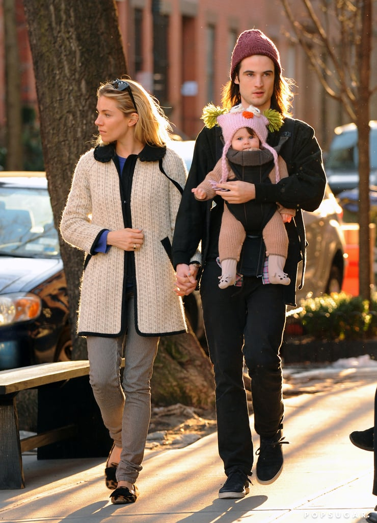 Sienna Miller and Tom Sturridge took their baby daughter, Marlowe Sturridge, out for a walk Saturday in NYC. The weather was perfect for an early Spring stroll, but Marlowe was still protected from the chill in an adorable onesie. Tom was able to join his girls during a break from rehearsals for his new play, Orphans. The production, which got off to a rocky start when Shia LaBeouf dropped out due to a feud with Alec Baldwin, is now proceeding toward its March 26 opening with Shia's replacement, Ben Foster. This will be Tom's second stint on stage this year — in January, he appeared for a limited time in No Quarter at London's Royal Court Theatre.