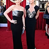 Tina Fey and Jane Krakowski goof off.