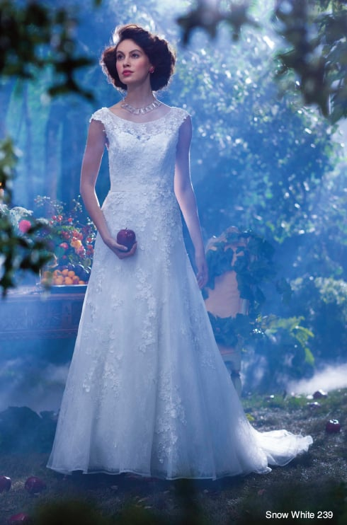 Alfred Angelo's Snow White gown ($1,249) is a demure nod to the fairest of them all.