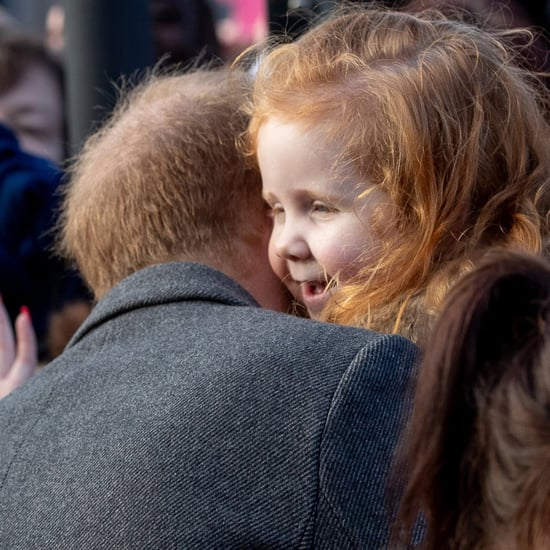 Prince Harry Hugging Girl With Ginger Sign January 2019