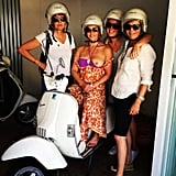 October 2014: Chelsea went halfsies with the topless thing by only showing one boob, with friends, while sitting on a scooter.