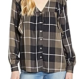 Bobeau Ruffled Plaid Shirt