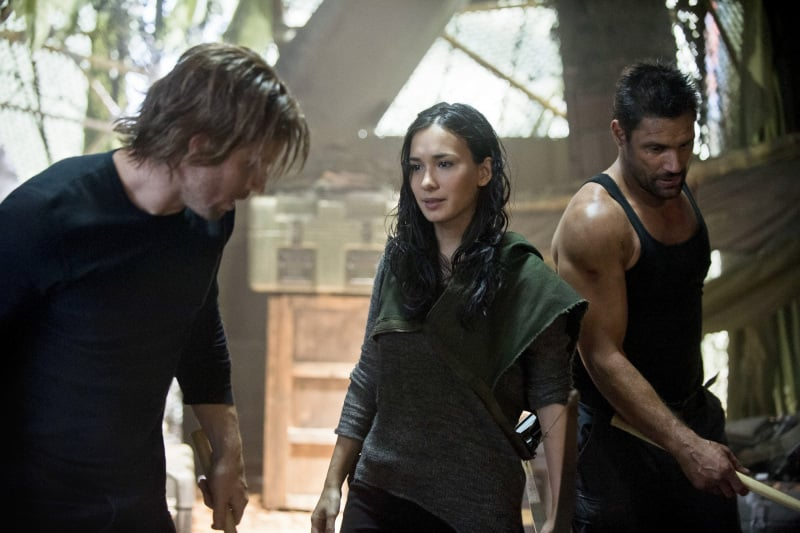 "Arrow Stephen Amell, Celina Jade, and Manu Bennett on ""City of Heroes,"" premiering Oct. 9 on The CW."