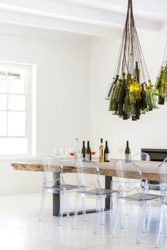 Recycled Wine-Bottle Chandelier