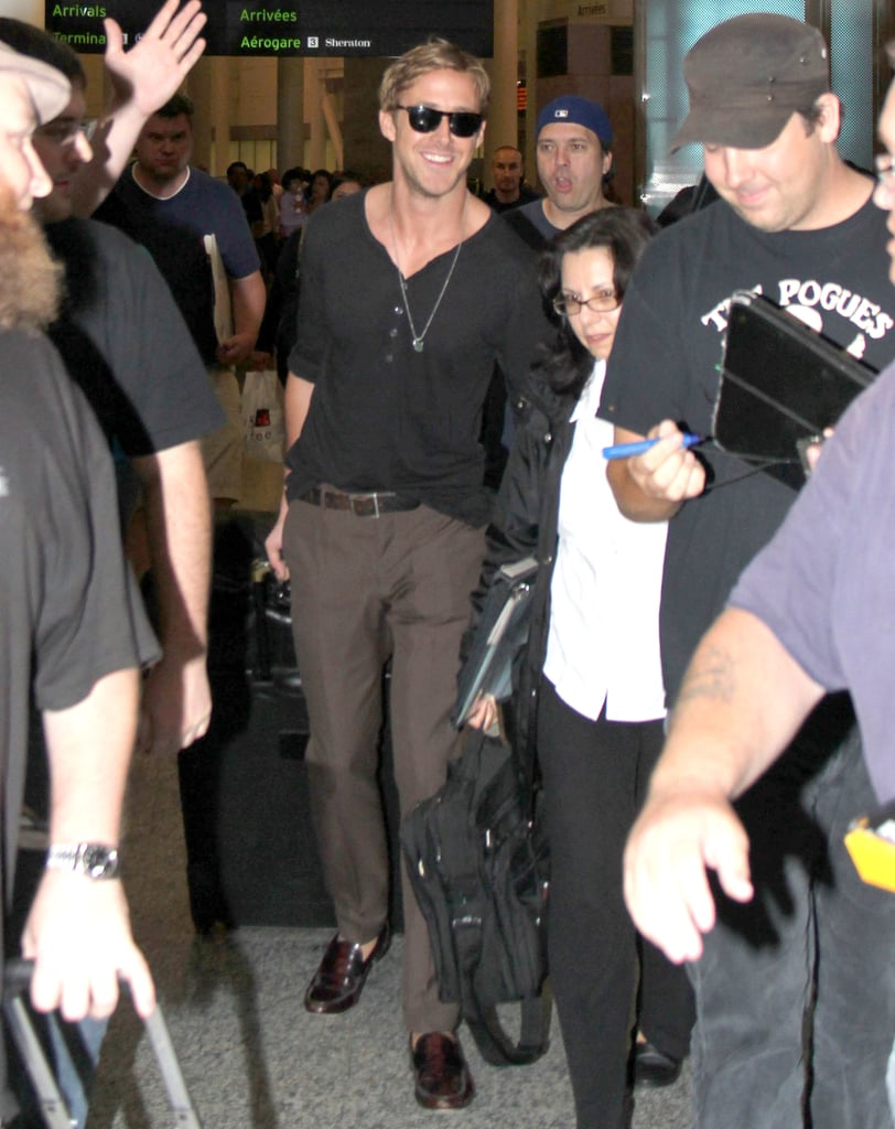 Ryan Gosling smiles in Toronto.