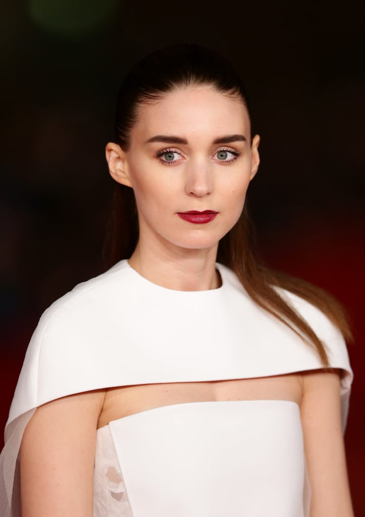 Usually one for tight, slicked-back styles, Rooney Mara opted for a half-updo at the premiere of Her this weekend.