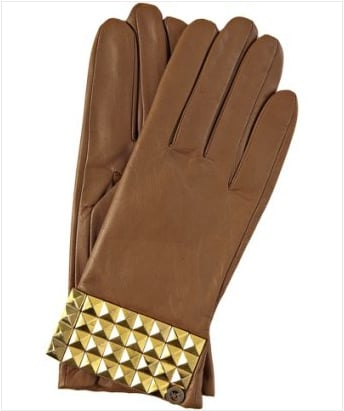 MICHAEL Michael Kors Light Brown Leather Studded Cuff Glove ($53)