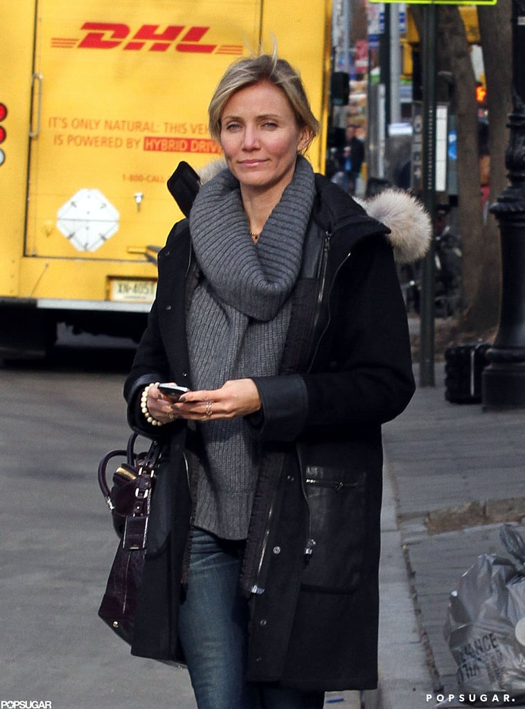 Cameron Diaz stepped out in a gray sweater.