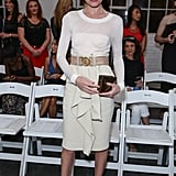 Kate Bosworth was a vision in ruffled white at Altuzarra — and we can't get over how cool her velvet loafer pumps were, too.