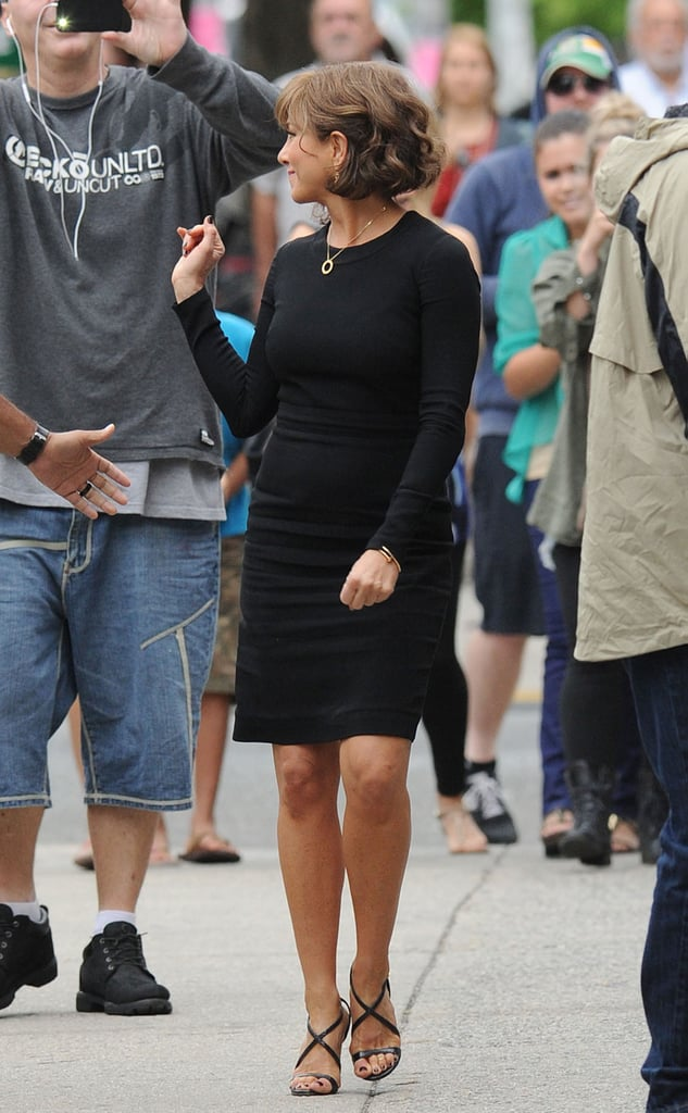 Jennifer Aniston waved at fans on July 25.