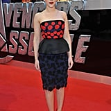 Scarlett Johansson echoed the red on her Prada frock with a pair of Christian Louboutin pumps.