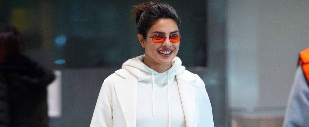 Priyanka Chopra's White Sweatpants at the Airport 2019