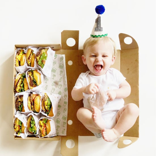 Baby's Shake Shack Burger Monthly Milestone Photos
