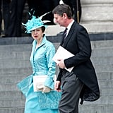 Princess Anne wore a feathery hat.