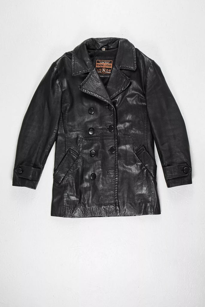 Urban Renewal One-Of-A-Kind Double-Breasted Black Leather Jacket
