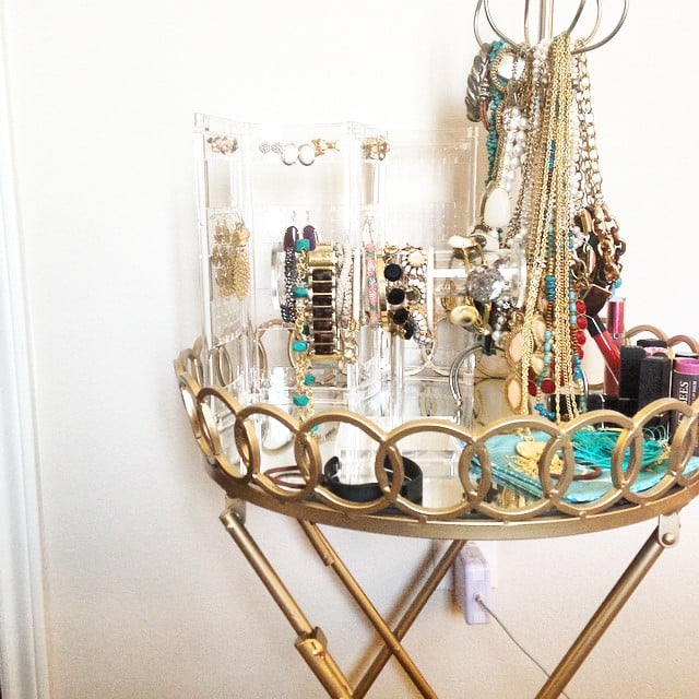 The find: a round bar cart with gold finishes. Don't you love how this shopper styled the cart as a jewelry station?