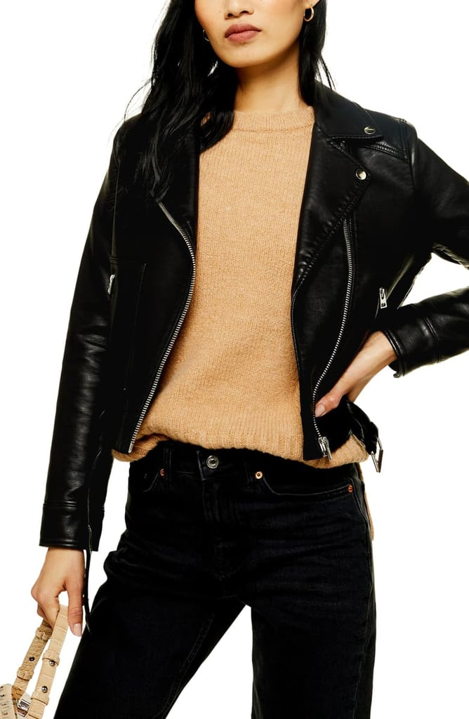Topshop Kota Crop Faux Leather Moto Jacket