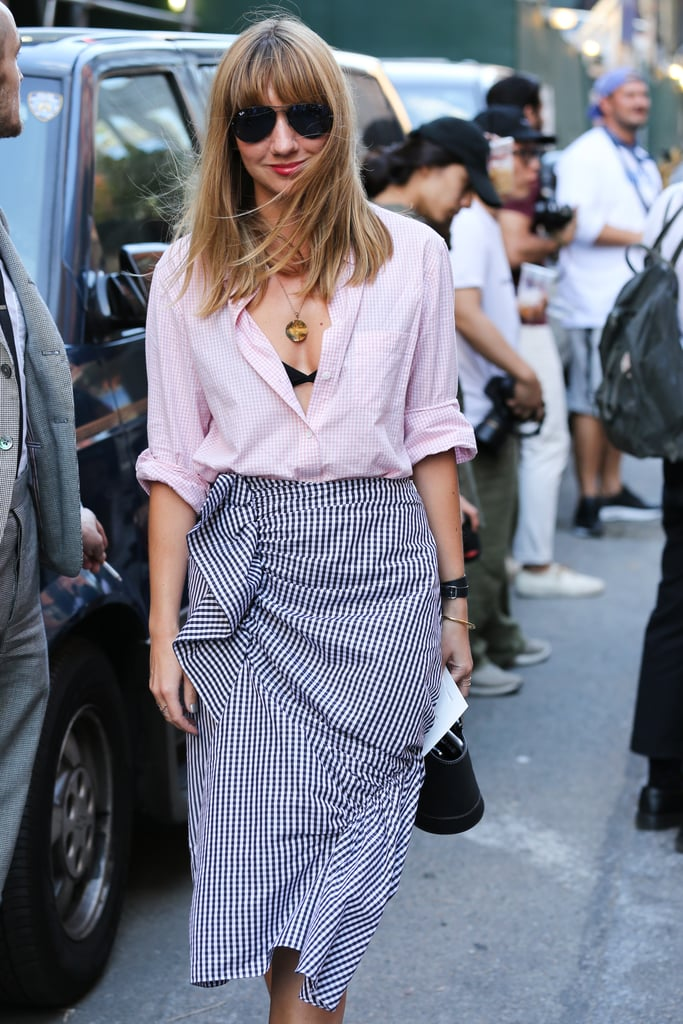 Start Off by Showing the Inner V of Your Bra With an Unbuttoned Blouse