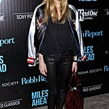 With embroidered flats and skinny leather leggings, Olivia reworked the jacket for a night out in NYC.