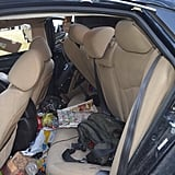 The back seat, after the car seats had been removed.