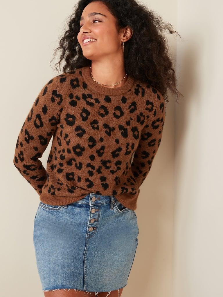 Old Navy Cozy Leopard-Print Crew-Neck Sweater