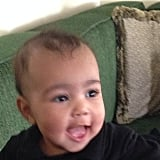Kim captured North's big smile in November.  Source: Instagram user kimkardashian