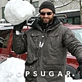 Hugh Jackman packed a big snowball in NYC in January 2011.