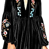 Aofur Boho Embroidered Velvet Dress