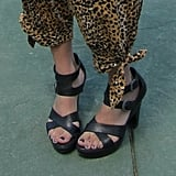 We love these stacked strappy platform sandals.