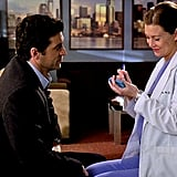 """In what might be the most iconic wedding on the list, Meredith and Derek end up forgoing the plans for a big ceremony, and instead write down their vows on a post-it: """"Love each other even when we hate each other. No running. Take care when old, senile, and smelly. And it's forever."""""""