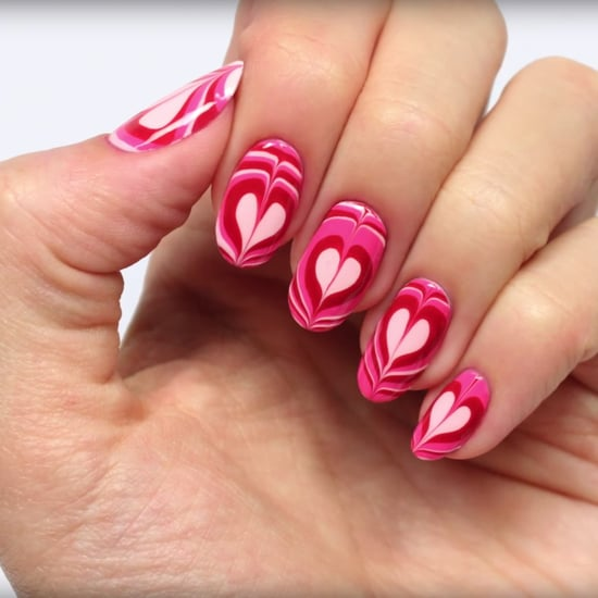 Heart Water Marble Nail Art Tutorial