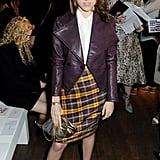 Anna Kendrick wore a plaid skirt to the Vivienne Westwood show.