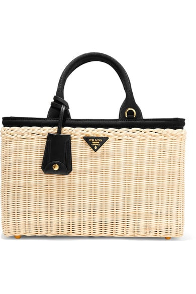 Take the trend to work on this Prada Midollino large leather-trimmed wicker tote ($2,157).