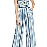 MOON RIVER Front-Tie Striped Jumpsuit